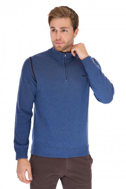 Пуловер мужской вязаный синий с логотипом и короткой молнией Harmont & Blaine