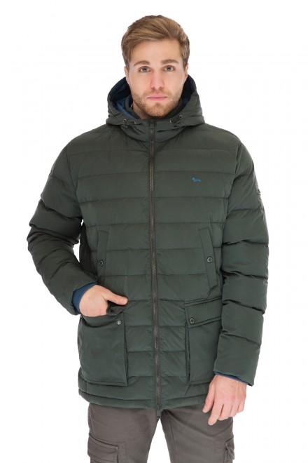 Куртка мужская (пуховик) темно-зеленая стеганая с капюшоном на молнии Harmont & Blaine