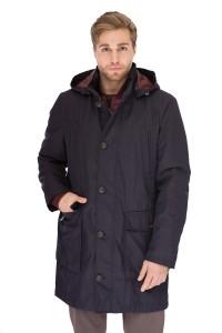 Куртка мужская зимняя (парка) черная с бордовой подкладкой и капюшоном Pal Zileri