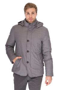 Куртка (пуховик) мужская с капюшоном серого цвета на пуговицах укороченная Pal Zileri
