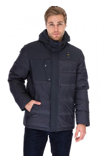 Куртка мужская (пуховик) с капюшоном объемная синего цвета Blauer