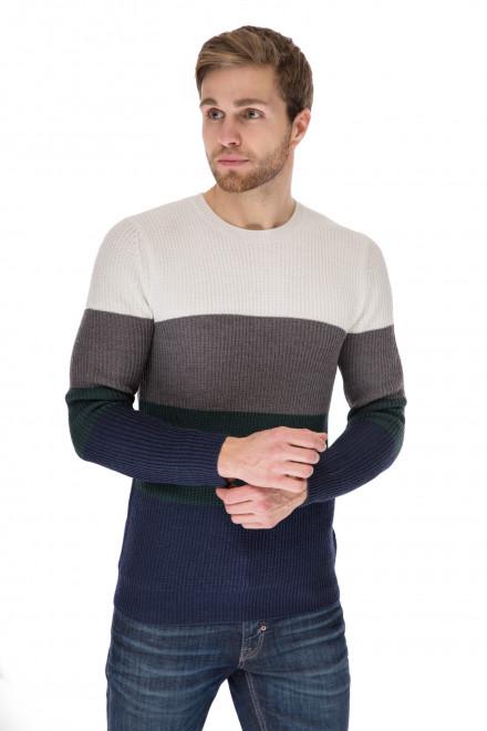 Пуловер мужской колор блок облегающий в рубчик Antony Morato