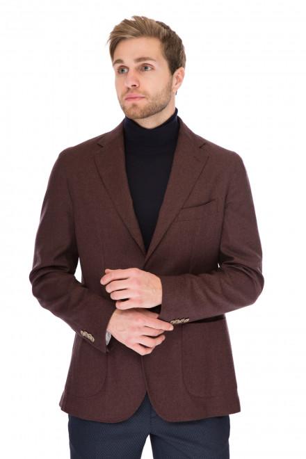 Пиджак мужской (блейзер) бордовый однобортный из натуральной шерсти Cadini