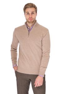 Пуловер мужской светло-коричневый вязаный под горло из натуральной шерсти Cadini