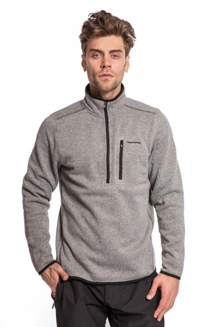 Пуловер мужской  на укороченной молнии серого цвета Craghoppers