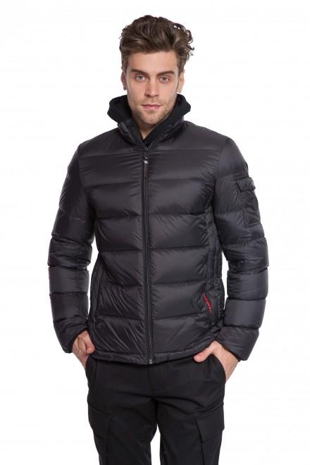 Куртка мужская зимняя стеганая (пуховик) черного цвета Lindbergh