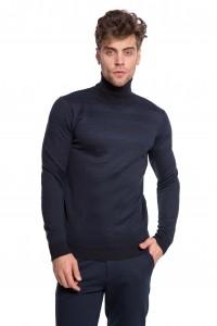 Пуловер чоловічий темно-синій зі смугами Antony Morato