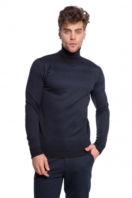 Пуловер мужской темно-синего цвета с полосами Antony Morato