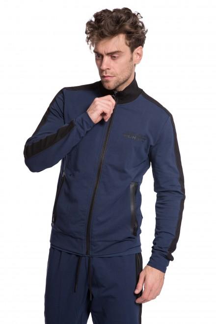 Куртка мужская на молнии синего цвета с черными вставками Antony Morato