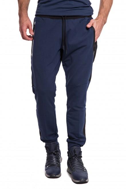Штаны мужские спортивные на шнурке темно-синие с черными лампасами Antony Morato