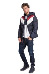 Куртка мужская колор блок стеганая утепленная с капюшоном и на молнии Shine Original