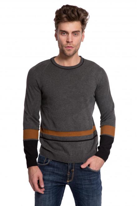Пуловер мужской из натурального хлопка серого цвета с полосами Lindbergh