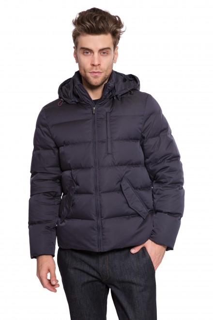 Куртка мужская (пуховик) стеганая с капюшоном черного на молнии Pal Zileri