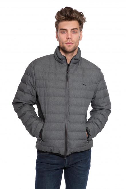 Куртка мужская стеганая серого цвета на молнии с логотипом Harmont & Blaine