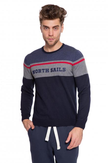 Пуловер мужской с круглым вырезом темно-синий с North Sails