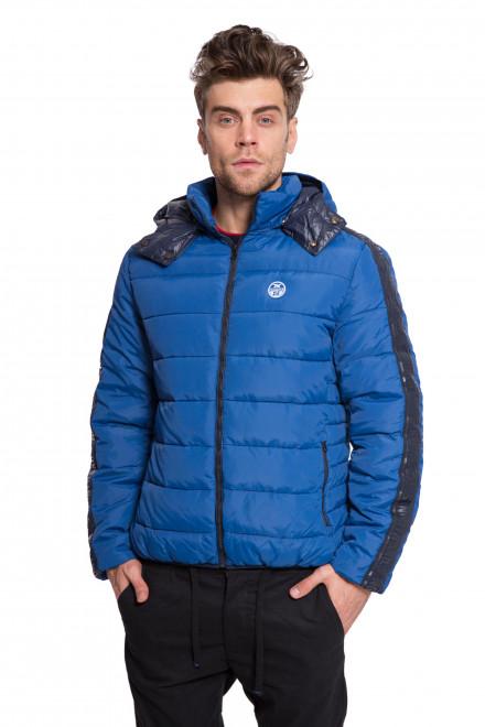 Куртка мужская стеганая синего цвета с капюшоном и логотипом North Sails
