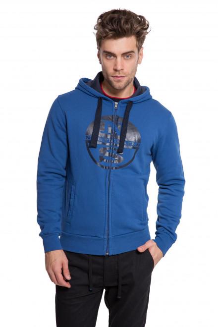 Пуловер мужской с капюшоном на молнии с логотипом North Sails