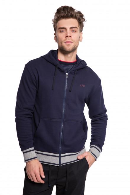 Кардиган спортивный мужской темно-синий на молнии с капюшоном Pal Zileri