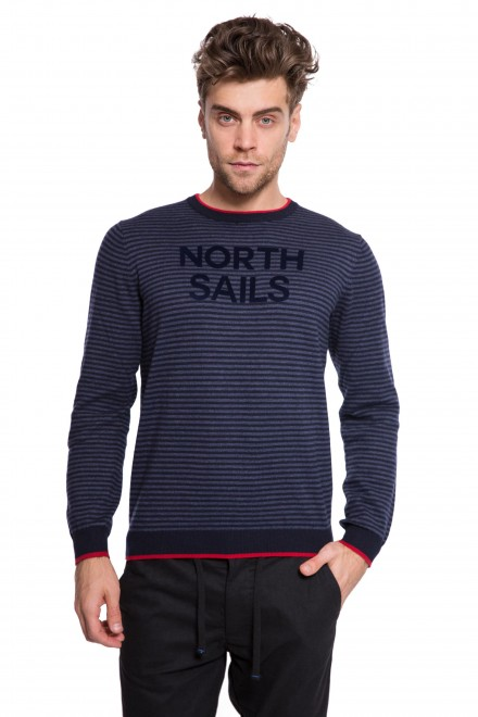 Пуловер мужской синий в тонкую полоску и с надписью North Sails