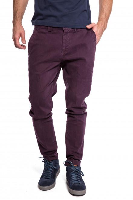 Штаны мужские темно-бордовые зауженные с логотипом Harmont & Blaine