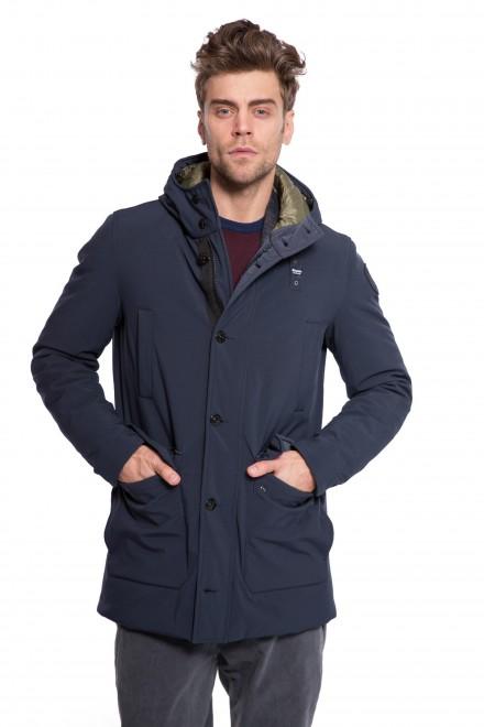 Куртка мужская темно-синяя с капюшоном демисезонная короткая Blauer