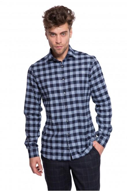 Рубашка мужская голубого цвета в синюю клетку из хлопка van Laack