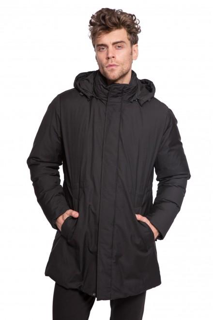 Куртка мужская с капюшоном черного цвета на молнии и кнопках Pal Zileri