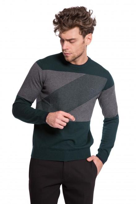 Пуловер мужской с круглым вырезом темно-серый в разноцветный принт Harmont & Blaine
