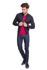 Пуловер мужской малиновый из шерсти мериноса John Smedley