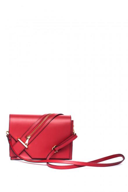 Сумка женская кожаная красная с длинным ремешком Andrea Cordone