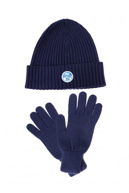 Комплект шапка и перчатки мужские темно-синие вязаные North Sails