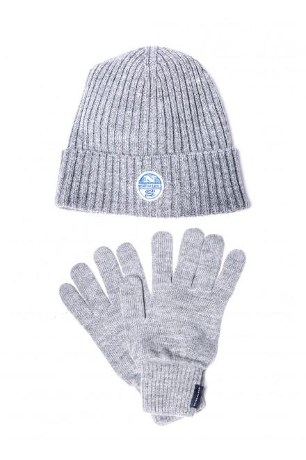 Набор мужских аксессуаров (шапка + рукавички) синего цвета North Sails