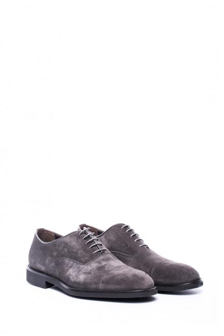 Туфли мужские (оксфорды) из нубука серые Dn8 by Moreschi