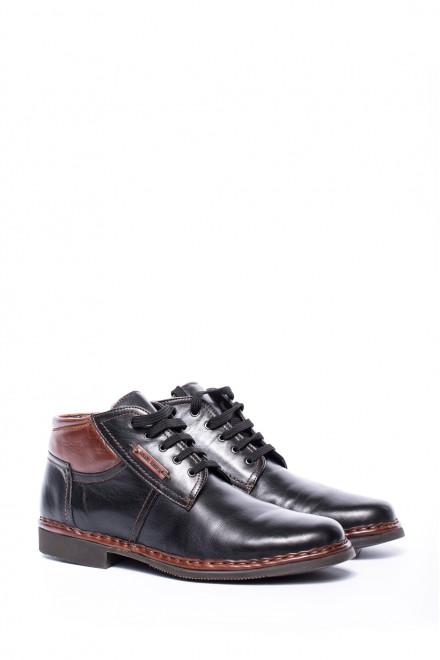Ботинки мужские кожаные черные с коричневыми вставками Galizio Torresi