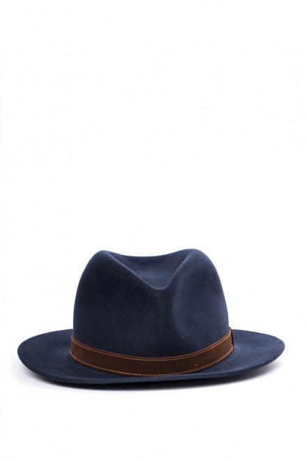 Мужская шляпа синяя с коричневым ободком вокруг тульи Borsalino