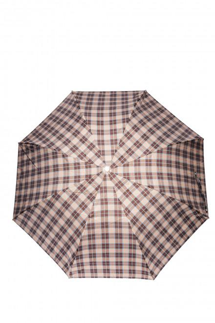 Зонт мужской с деревянной ручкой компактный полуавтомат в клетку Pasotti