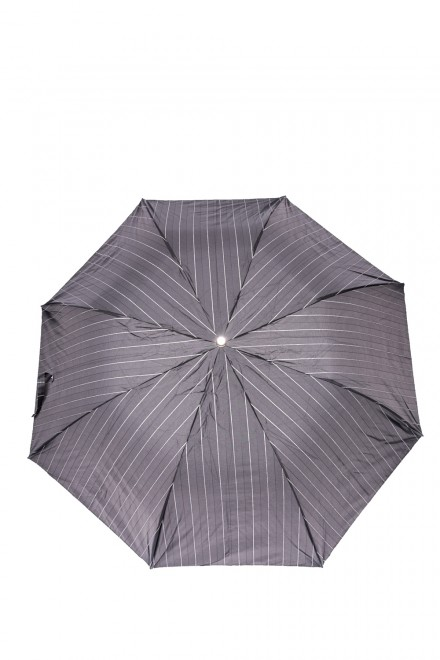 Зонт мужской складной черный в полоску с кожаной ручкой Pasotti