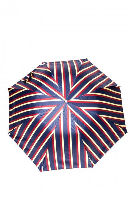 Полосатый складной зонт с кожаной ручкой Pasotti
