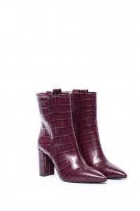 Полуботинки женские лакированные на каблуке кожаные бордового цвета The Seller