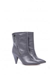 Полуботинки женские на каблуке лакированные кожаные серого цвета The Seller