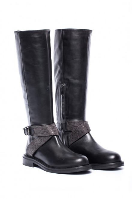 Сапоги женские высокие кожаные черного цвета на низком каблуке The Seller