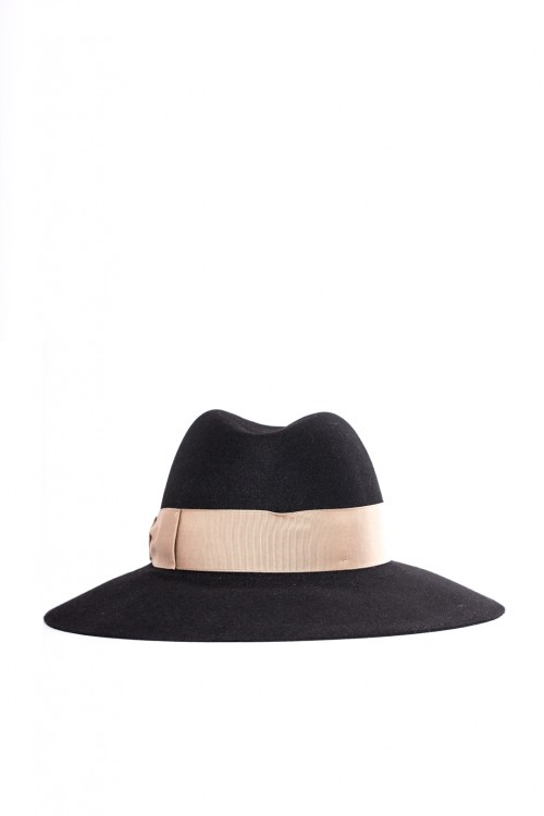 Шляпа женская черная с бежевым ободком вокруг тульи Borsalino