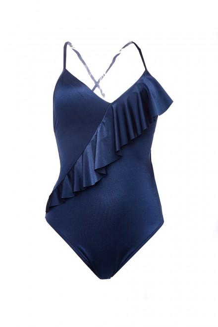 Купальник женский  синий с оборкой Seafolly