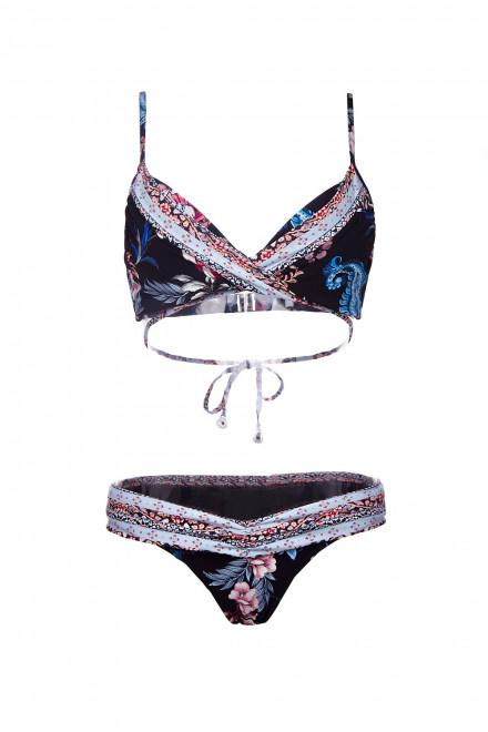 Лиф женский купальный на запах черного цвета в мелкий принт Seafolly
