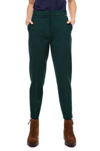 Брюки-сигареты женские зеленые с карманами Le Coeur