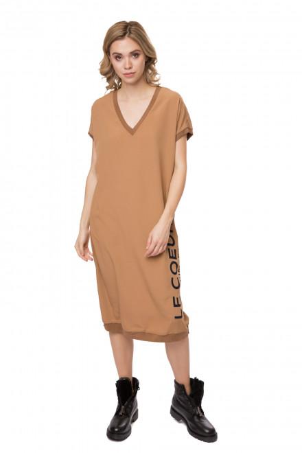 Платье женское бежевое объемное с коротким рукавом Le Coeur