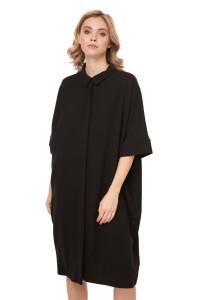 Платье женское свободного кроя черное с рукавом три четверти UNQ