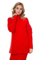 Пуловер женский вязаный красный с высоким горлом шерстяной Riani