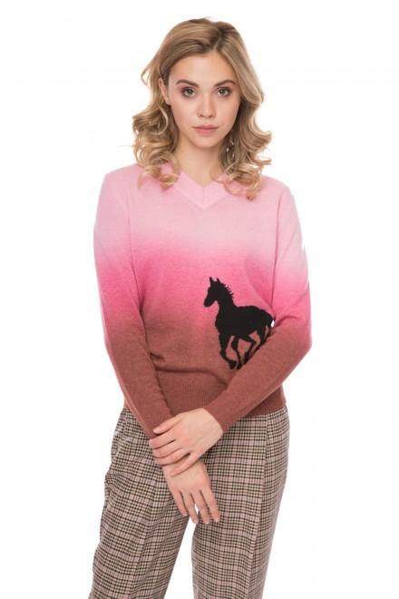 Пуловер женский розовый теплый с принтом лошади Sfizio