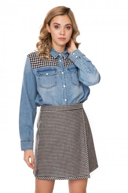 Рубашка женская джинсовая с клетчатыми вставками Miss sixty